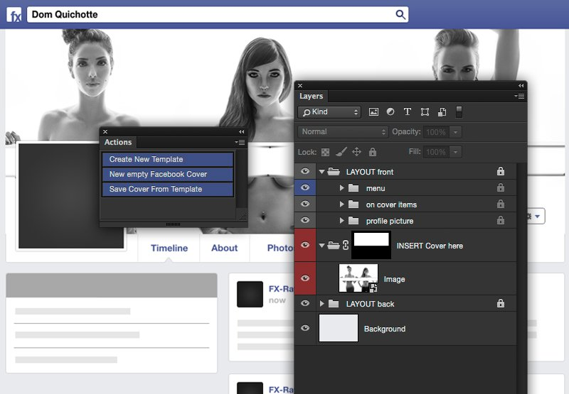 Facebook cover template photoshop action this photoshop action will